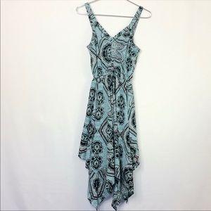 H&M Patterned Handkerchief Hem Sleeveless Dress